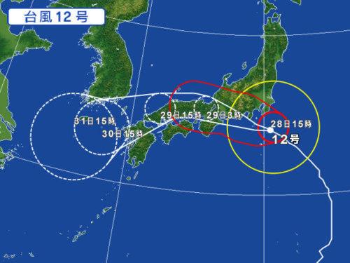 台風12号進路予想2018が異例の理由は?被災地直撃するな!